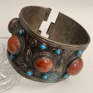 Vintage Tibetan style sterling bangle bracelet